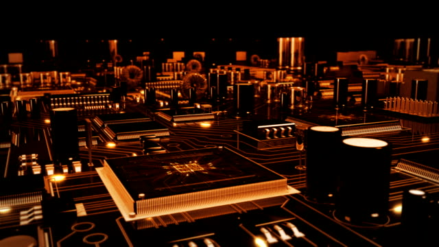 未来的な回路基板に移動します。loopable.technology 背景グレイ-オレンジ。 - エレクトロニクス産業点の映像素材/bロール