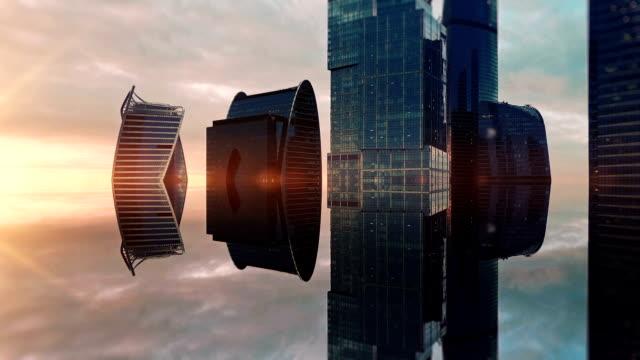 futuristic city aerial background. mirror effect - сюрреалистический стоковые видео и кадры b-roll