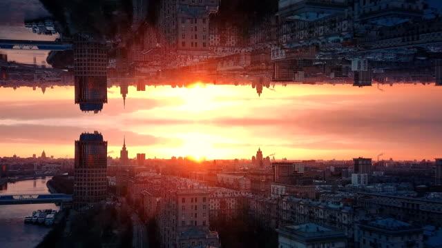 未来都市の空中の背景。ミラーエフェクト - 万華鏡模様点の映像素材/bロール