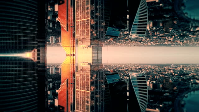 Futuristic City Aerial Background. Mirror Effect - video