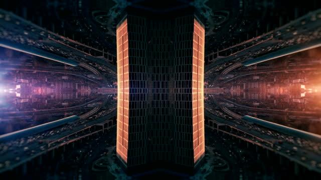 未来都市の空中の背景。ミラーエフェクト - 対称点の映像素材/bロール