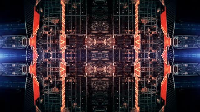 vídeos de stock e filmes b-roll de futuristic city kaleidoscope abstract background - surrealismo