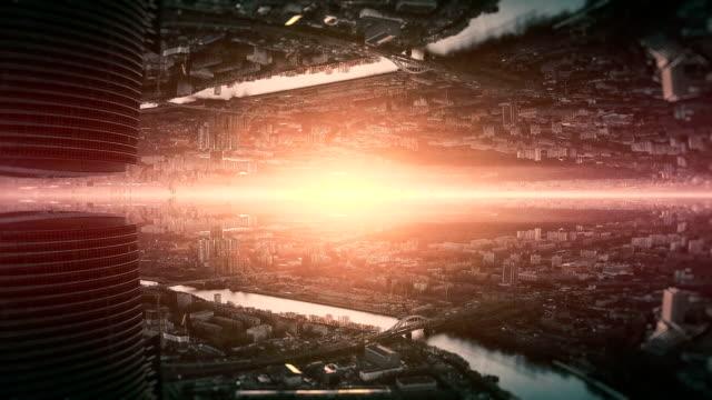 vídeos y material grabado en eventos de stock de futurista ciudad caleidoscopio fondo abstracto - caleidoscopio patrón