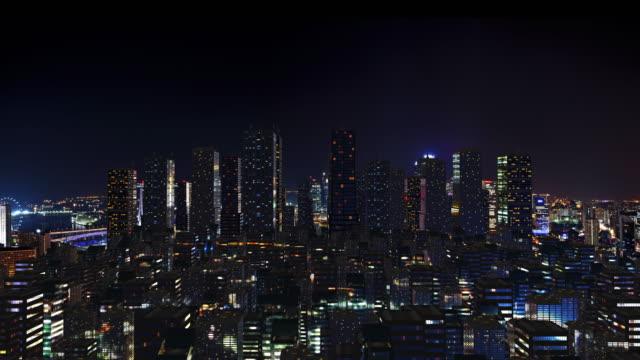 Fütüristik şehir manzarası, gece vakti. video