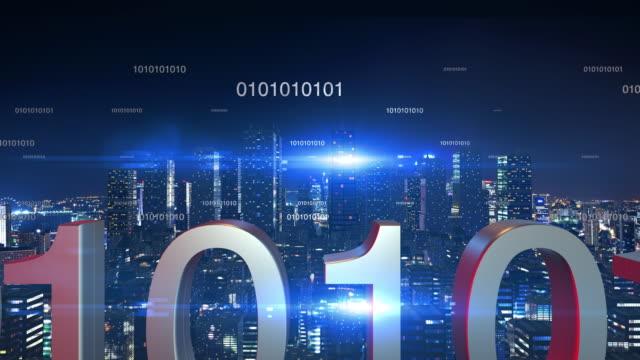 Numaraları uçan ile gece zamanda fütüristik şehir manzarası. video