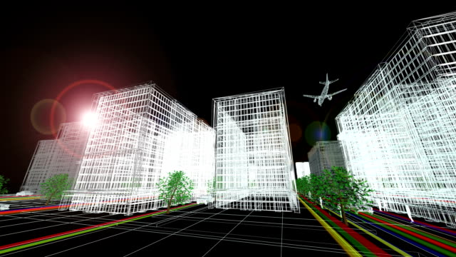futuristic city (full hd) - black and white architecture stock videos & royalty-free footage