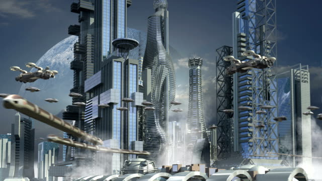 Futuristic city with skyscrapers and hoovering aircrafts video