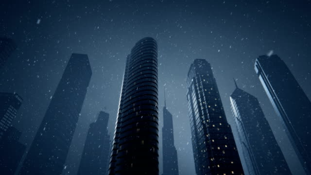 Futuristic city with snow