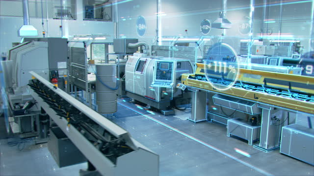 Futuristic Concept: Factory Digitalization with Information Showing Efficiency Percentage of High-Tech Modern Electronics Facility. CNC Automatic Machinery Manufacturing Products Using IoT Industry