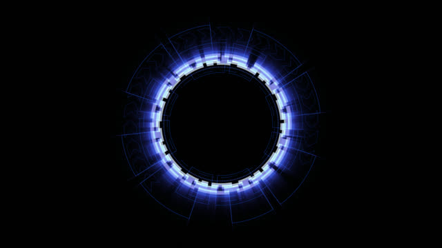 Futuristic concept of elements circle rotation for LOGO on black background, Head up display (HUD) technology motion graphic, alpha channel included