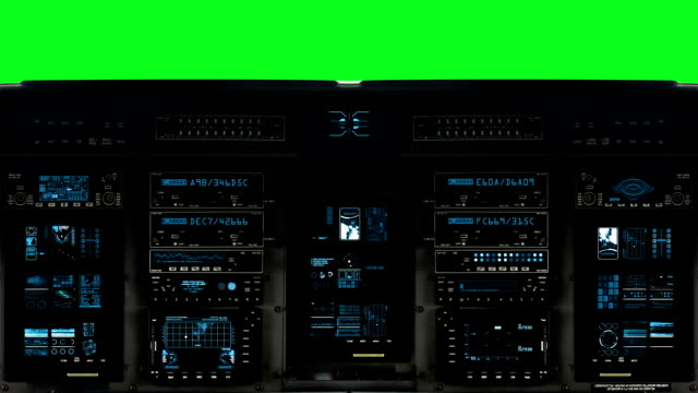 Futuristic Control Bridge on a Spaceship on a Green Screen Background Detailed Spaceship Cockpit Dashboard with Full Functional Monitors cockpit stock videos & royalty-free footage