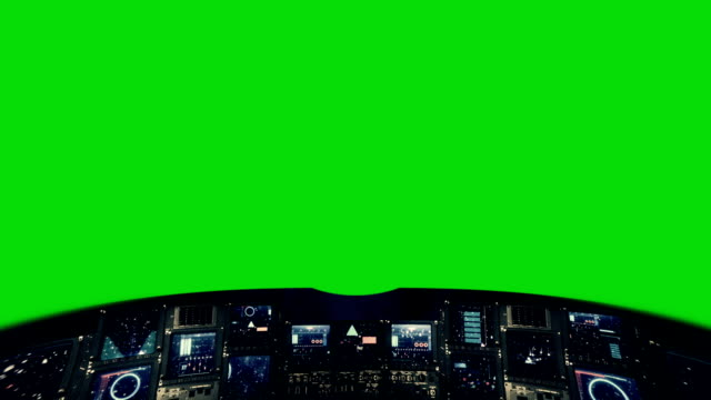 Futuristic Control Panel of a Command Center on a Green Screen video
