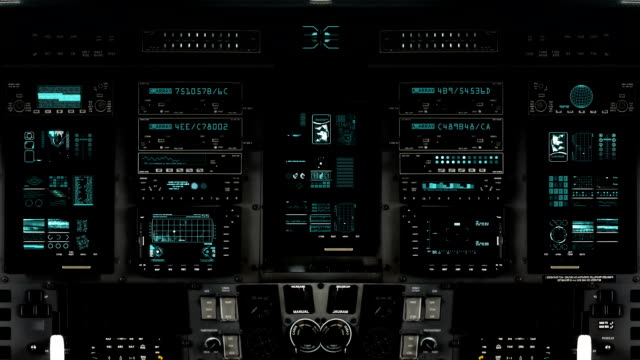 Futuristic Control Room Dashboard  on a Spaceship Detailed Spaceship Cockpit Dashboard with Full Functional Monitors cockpit stock videos & royalty-free footage