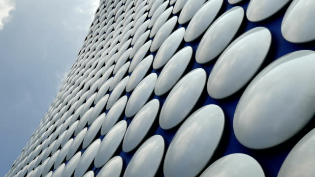 futuristic department store exterior detal - birmingham, uk. - contemporary architecture stock videos & royalty-free footage