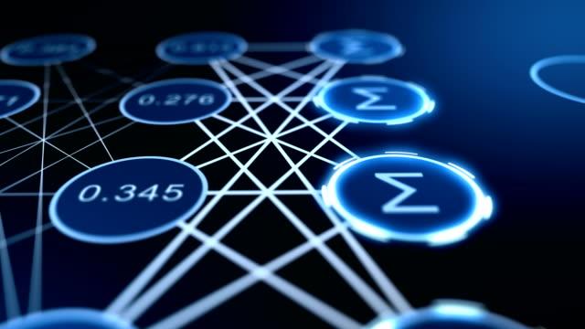 futuristisches diagramm, das zeigt, wie neuronales computernetzwerk funktioniert - flussdiagramm stock-videos und b-roll-filmmaterial