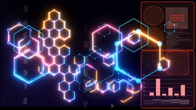 futuristic digital big data power block chain processing nano technology smart powerful energy and numeric matrix background