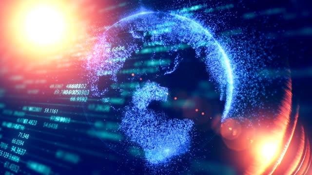 vidéos et rushes de fond de blockchain numérique futuriste, concept technologique fintech - 2018