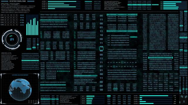 HUD Futuristic Digital Encoder Decoder Data Number Selection Code Animation For Screensaver Background.