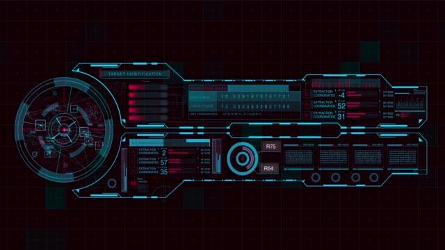 vídeos de stock, filmes e b-roll de futurista digital hud tecnologia interface do usuário, execução de código - os quatro elementos