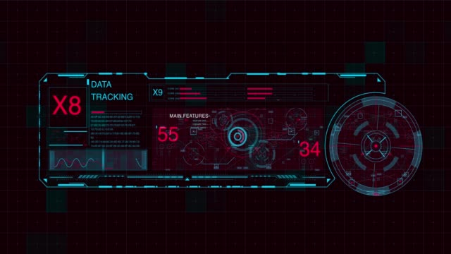Futuristic digital HUD Technology user interface, Futuristic digital HUD Technology user interface, the four elements stock videos & royalty-free footage