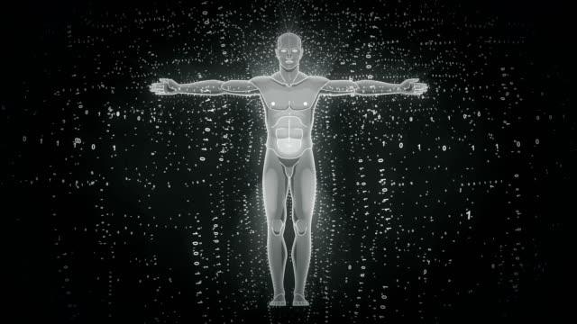 未来的なデジタル人間の男性の割合モノクロ抽象アニメーション - ホログラム点の映像素材/bロール