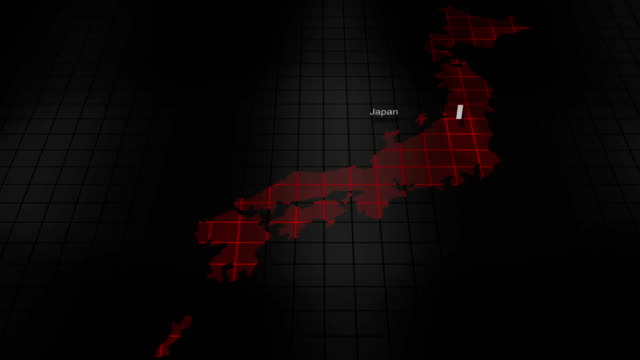 日本の未来のデジタル不吉な地図 - 日本 地図点の映像素材/bロール