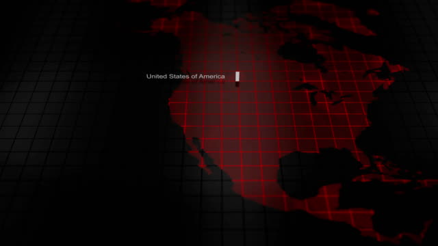 Futuristic digital ominous map of the united states of america