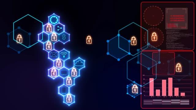 南京錠と鍵穴のアイコンと右側の分析赤いグラフレーダーと統合六角形と未来的なデジタル強力なロックされた抽象的なサイバーセキュリティ接続システム - ウイルス対策ソフト点の映像素材/bロール