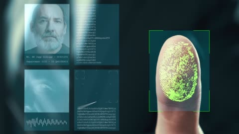 Futuristic digital processing of fingerprints as man holds his hand against a  modern fingerprint scanner. Futuristic digital technology and transparent citizen concept. Futuristic digital processing of fingerprints as man holds his hand against a  modern fingerprint scanner. Futuristic digital technology and transparent citizen concept. identity stock videos & royalty-free footage