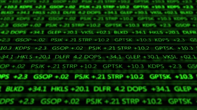 Futuristic digital stock exchange numbers flowing in computer V1 - Green 2