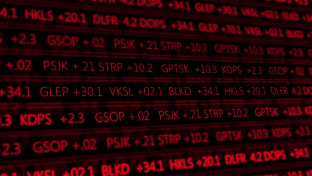 Futuristic digital stock exchange numbers flowing in computer V1 - Red 1