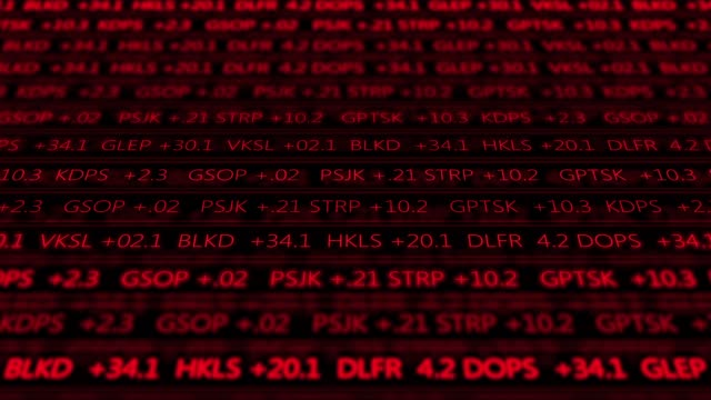 Futuristic digital stock exchange numbers flowing in computer V1 - Red 2