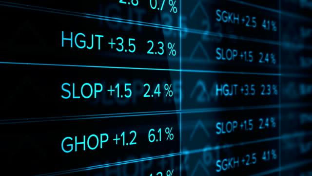 Futuristic digital Stock Market Ticker Blue Version- Thriving economy video