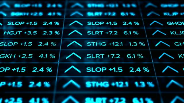 Futuristic digital Stock Market Ticker Blue Version - Thriving economy - Slant Angle video