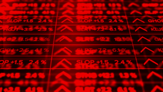Futuristic digital Stock Market Ticker Red Version - Thriving economy - Slant Angle video