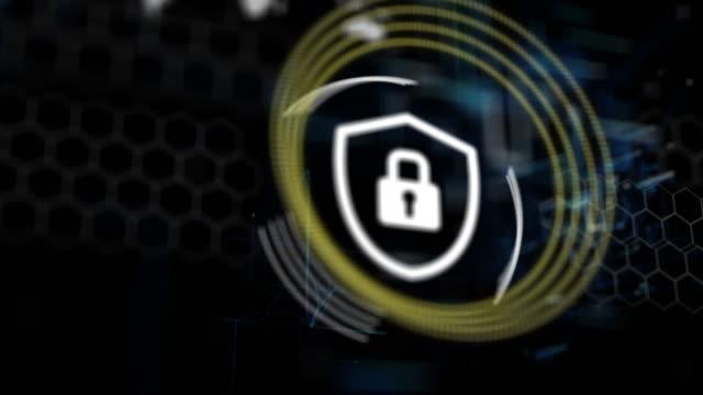 4K 3D Futuristic Digital Technology Animation of Security Lock