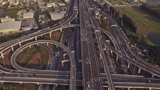 Futuristic Driverless Cars on the Elevated Expressway