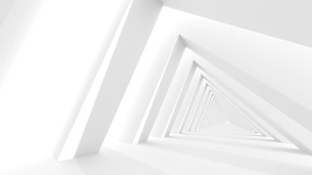 Futuristic empty white corridor with rectangular walls and bright light