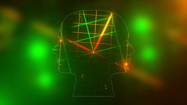 Futuristic Energy Heads With Neon Grid Effect With Lighting