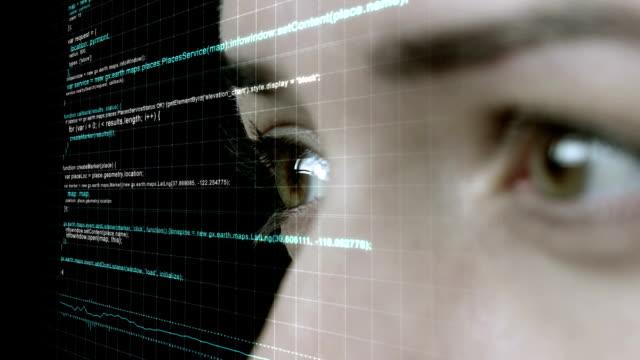 futuristische frau trägt heads up display - menschlicher kopf stock-videos und b-roll-filmmaterial