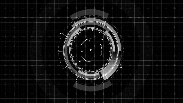 futuristisches spielziel. ziel und militärisch. ziel der scharfschützenwaffe. neon digitale anzeige. zukünftiger radarschirm. technologiekonzept. kameraaufnahme sucher. spielsteuerungs-schnittstellenelement. - zielscheibe stock-videos und b-roll-filmmaterial