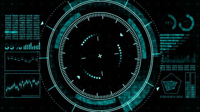 vídeos y material grabado en eventos de stock de objetivo de juego futurista. apuntando y militar. objetivo del arma de francotirador. pantalla digital de neón. futura pantalla de radar. concepto tecnológico. visor de grabación de cámara. elemento de interfaz de control de juego. - tabla medios visuales