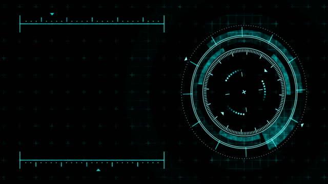 未来的なゲームターゲット。狙いと軍事。狙撃兵器の狙い。ネオンデジタルディスプレイ。将来のレーダー画面。技術コンセプト。カメラ録画ファインダー。ゲーム コントロール インター� - ホログラム点の映像素材/bロール