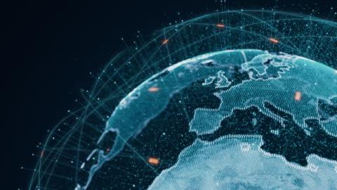 connessioni globali futuristiche intorno al pianeta terra - copy space video stock e b–roll