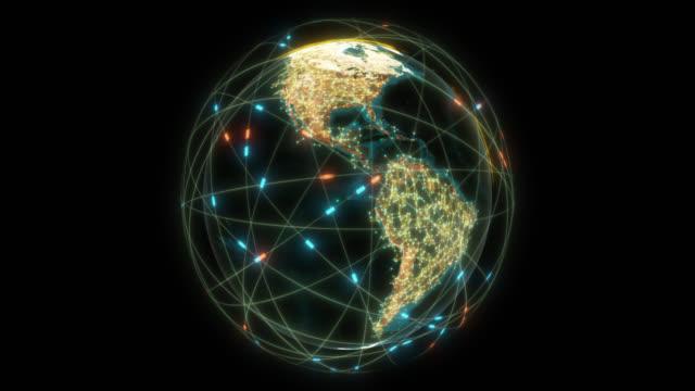 vídeos de stock e filmes b-roll de futuristic global connections around the earth planet with alpha channel - padrão repetido