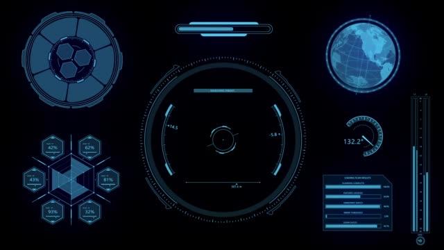 vídeos de stock, filmes e b-roll de hud futurista alta tecnologia canal alfa exibição scanner - holograma