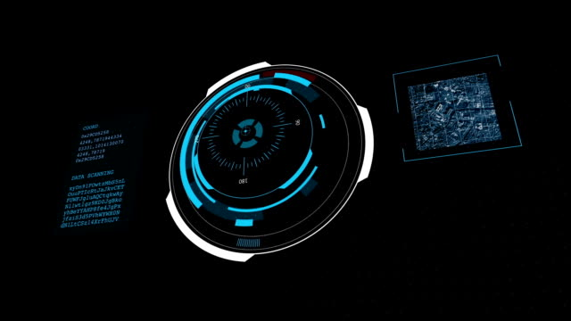 HUD futuristic High Tech Map Scanner 3d 3 view video