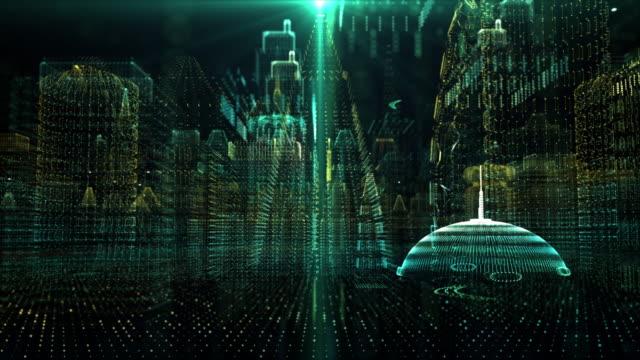 vídeos de stock, filmes e b-roll de futurista holográfico digital matrix cyber city - perspectiva espacial