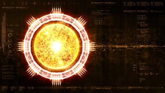 futuristic holographic nuclear fusion machine simulation - campo gravitazionale video stock e b–roll