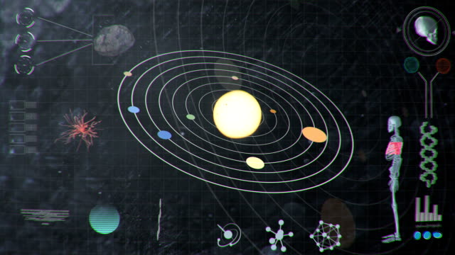 Futuristic HUD Analyzing Values of the Solar System and Human video